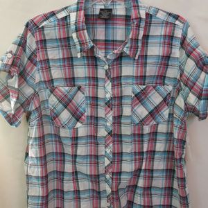 Faded Glory Short Sleeve Button Down Plaid NWT